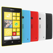 Nokia Lumia 520 Smartphone 2013 검은 색, 흰색, 파란색, 빨간색, 노란색 3d model