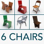 6 sillas modelo 3d
