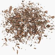 Hölzerner hölzerner Planken-Bauholz-Rückstand, der Ausschnitt-Schnitt-Schreiner Woodwork Sawdust Saw Forest Sawmill Lumbermill-Bauholz rasiert 3d model