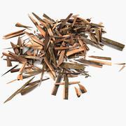 Houten plank puin zaagsel zaag bos zagerij timmerhout timmerhout (2) 3d model