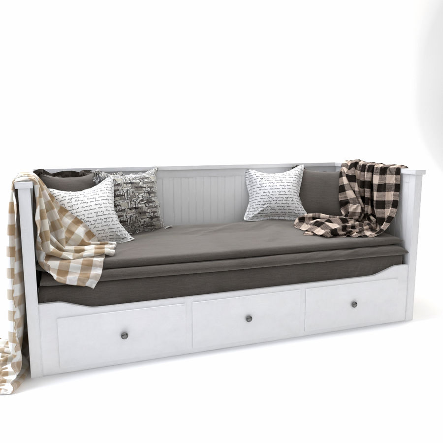 IKEA HEMNES Day-bed frame, white royalty-free 3d model - Preview no. 3