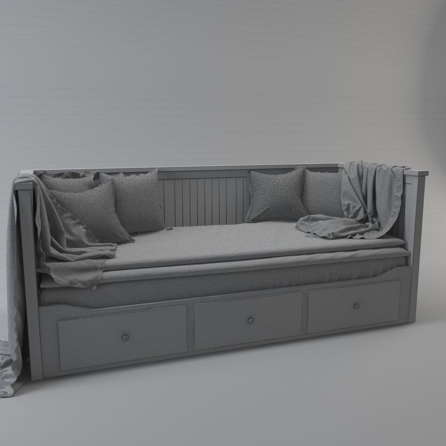 IKEA HEMNES Day-bed frame, white royalty-free 3d model - Preview no. 4