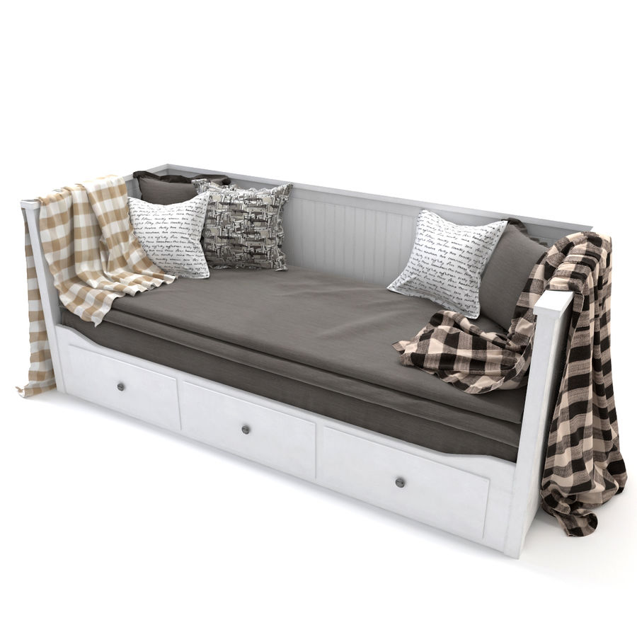 IKEA HEMNES Day-bed frame, white royalty-free 3d model - Preview no. 1