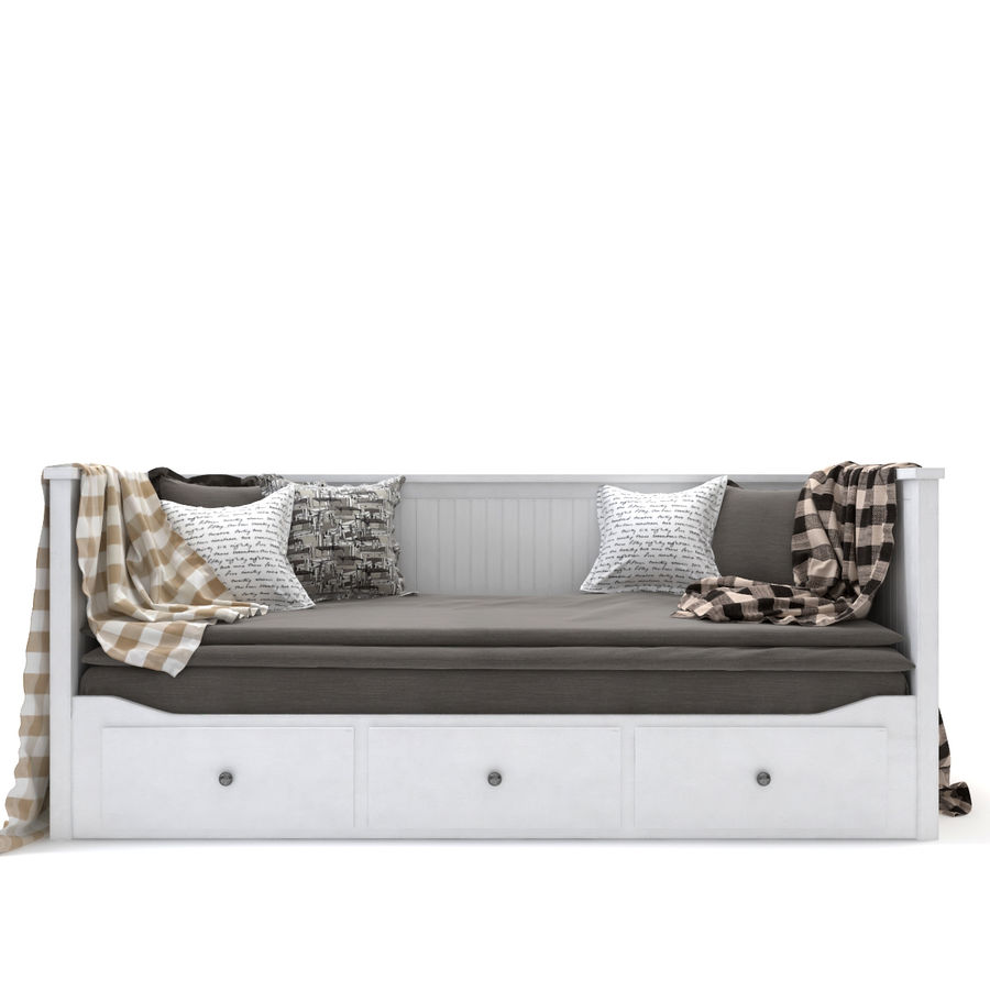 IKEA HEMNES Day-bed frame, white royalty-free 3d model - Preview no. 2