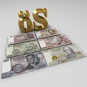 Austrian Shilling Banknotes 3d model