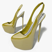 High Heel Slingback Shoes 3d model