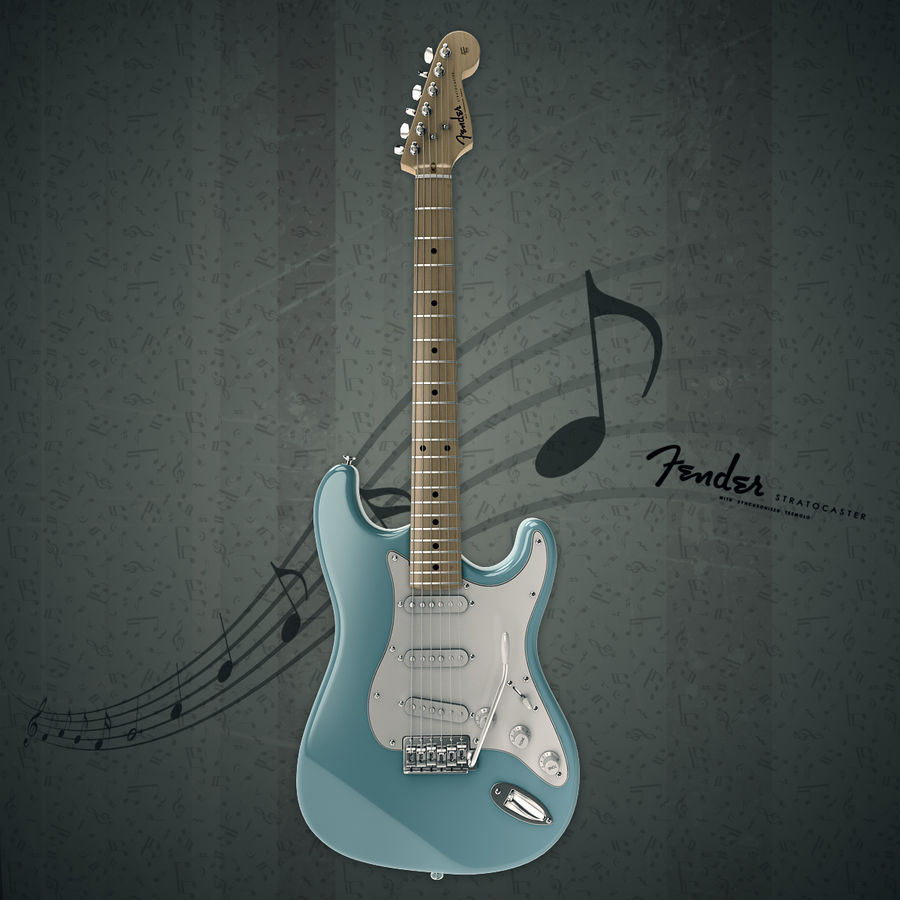 Fender Stratocaster royalty-free 3d model - Preview no. 2