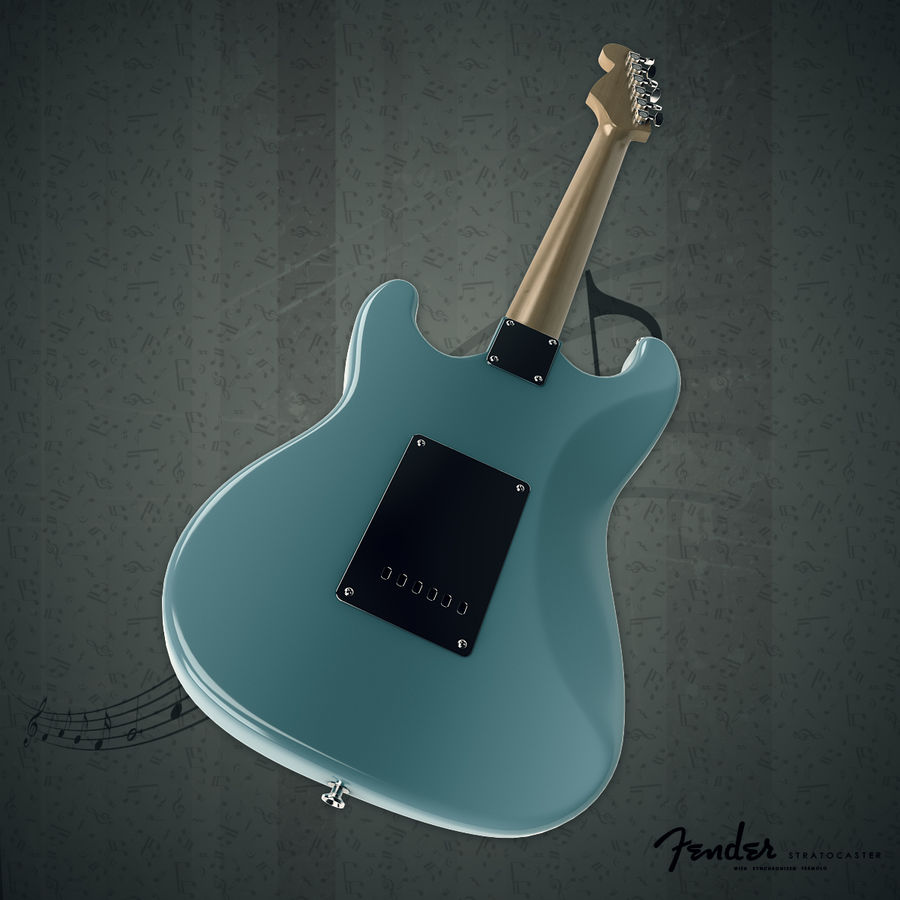 Fender Stratocaster royalty-free 3d model - Preview no. 5