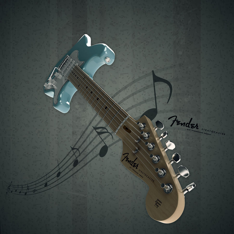 Fender Stratocaster royalty-free 3d model - Preview no. 4