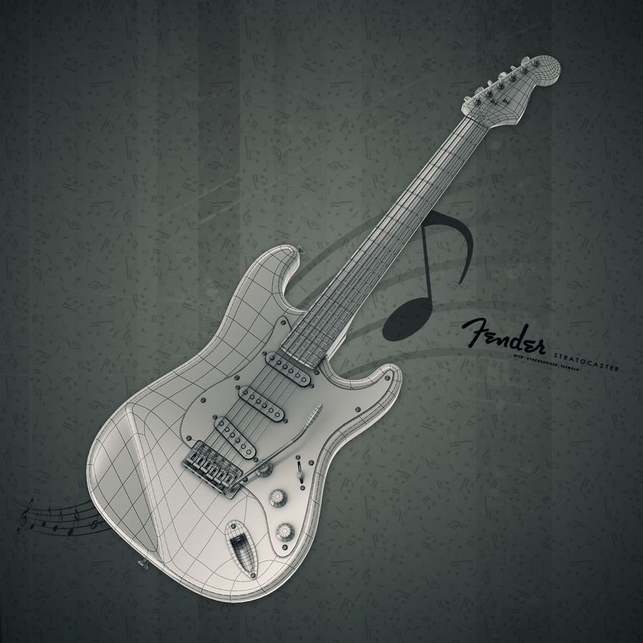 Fender Stratocaster royalty-free 3d model - Preview no. 7