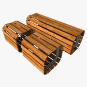 Outdoor Wooden Bench 3d model