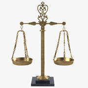 Vintage Italian Marble & Brass Apothecary Scales 3d model