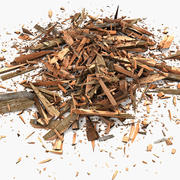 Wooden Plank Lumber Sawdust Debris 3d model