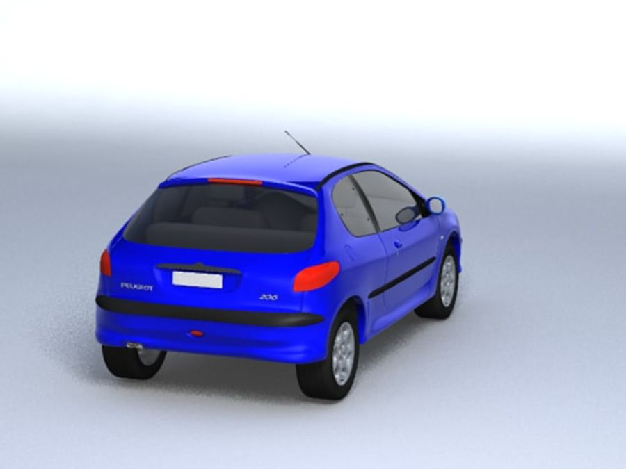 Peugeot 206 royalty-free 3d model - Preview no. 4