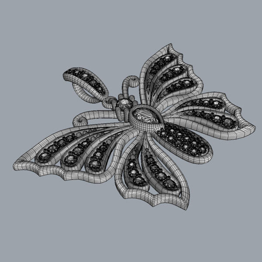 Butterfly pendant royalty-free 3d model - Preview no. 4