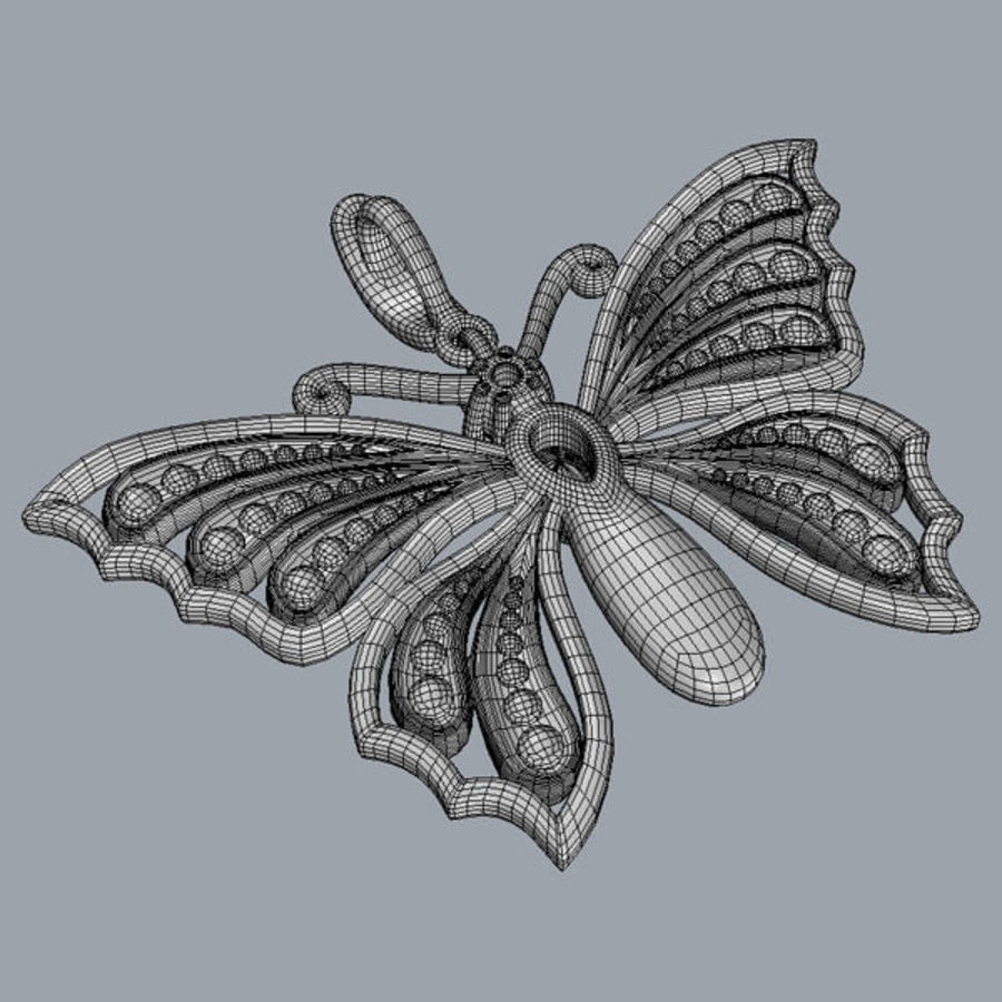 Butterfly pendant royalty-free 3d model - Preview no. 5