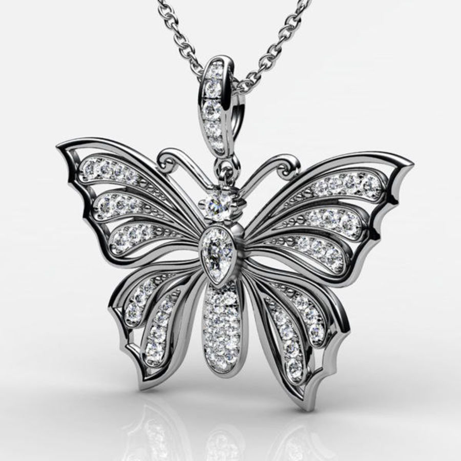 Butterfly pendant royalty-free 3d model - Preview no. 1