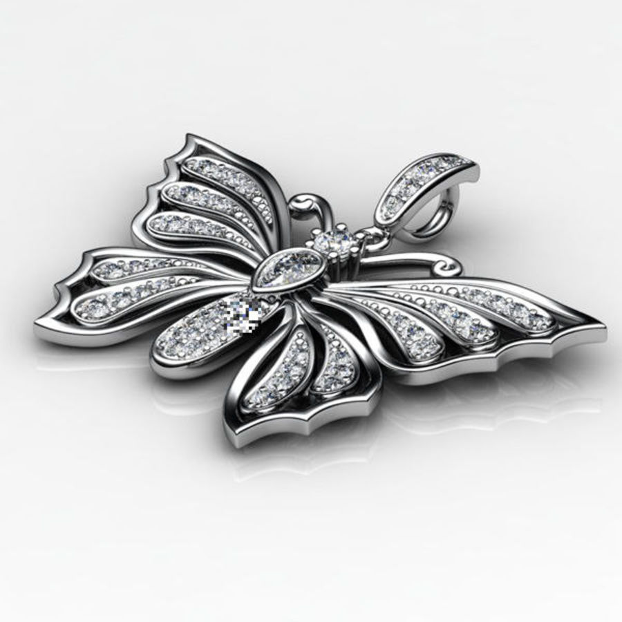 Butterfly pendant royalty-free 3d model - Preview no. 3