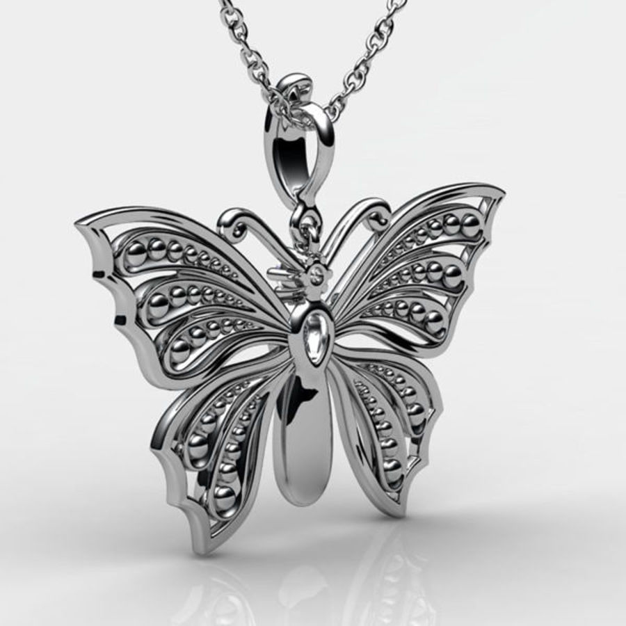 Butterfly pendant royalty-free 3d model - Preview no. 2