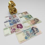里拉纸币 3d model