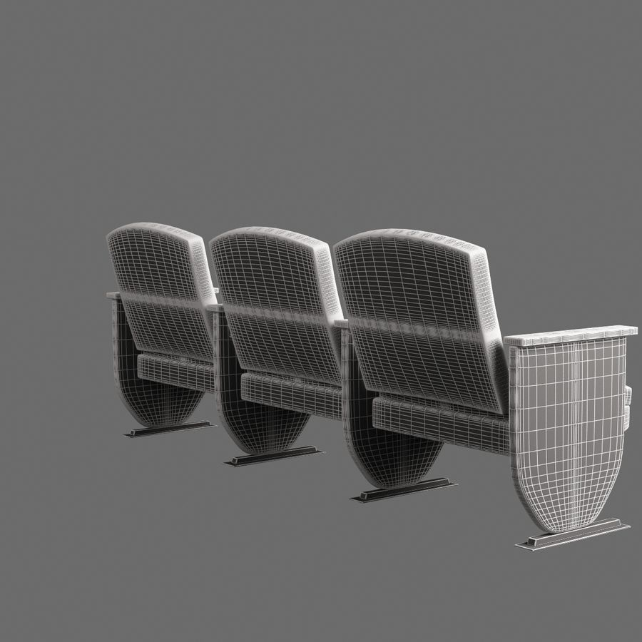 Armchair Auditorium Cinema 008 royalty-free 3d model - Preview no. 7