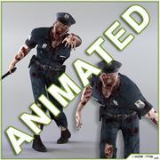 Poliziotto zombi animato 3d model