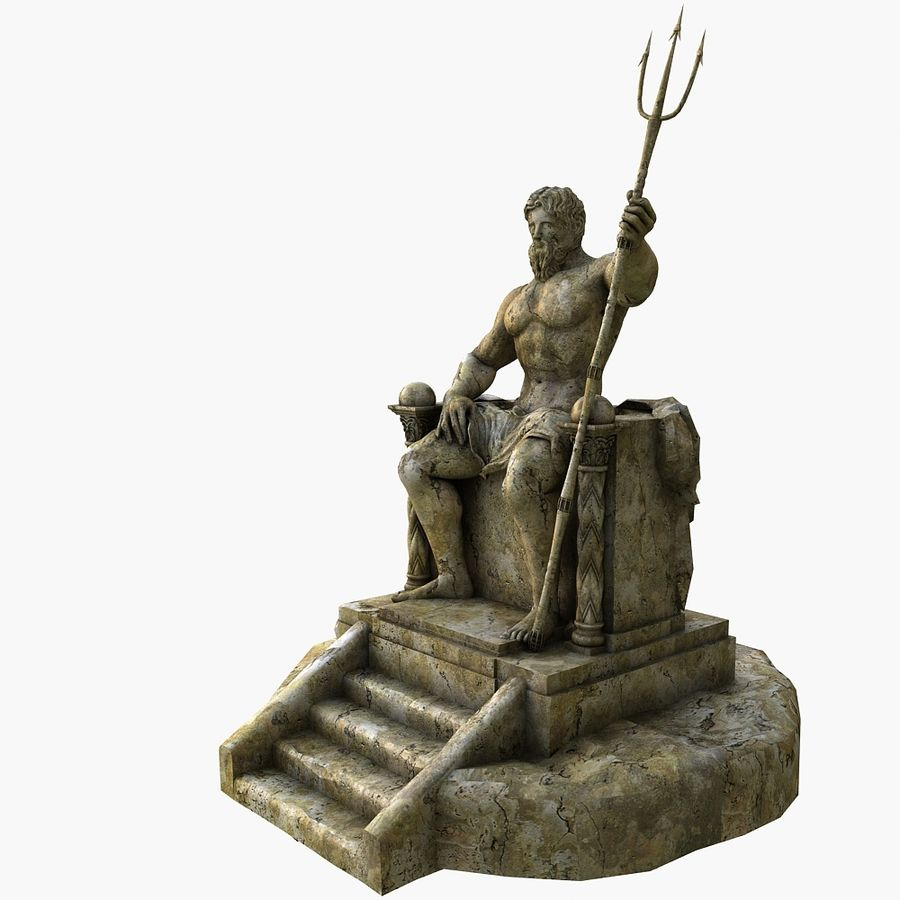 Poseidon-standbeeld royalty-free 3d model - Preview no. 5