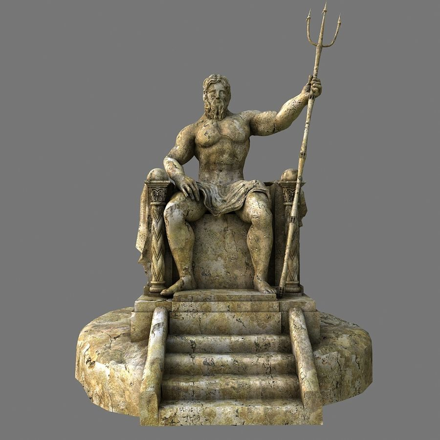 Poseidon-standbeeld royalty-free 3d model - Preview no. 2