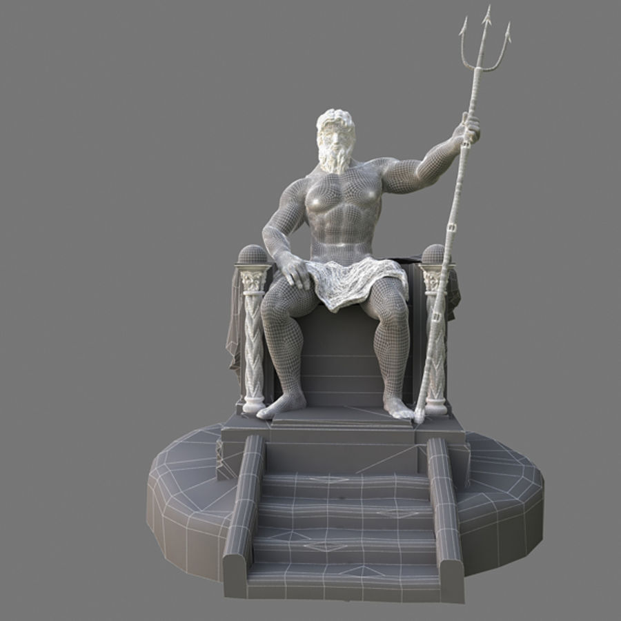 Poseidon-standbeeld royalty-free 3d model - Preview no. 7