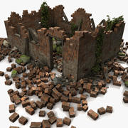 Ruínas de casa de tijolo inglês vermelho pedra rocha 3d model