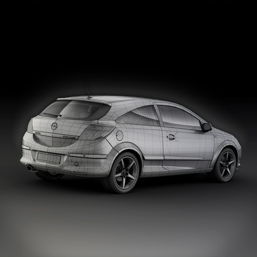 Opel Astra H GTC Opel royalty-free 3d model - Preview no. 10
