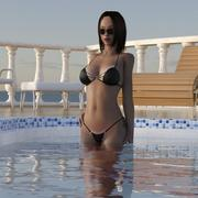 Flicka på terrassen (Rigget) 3d model