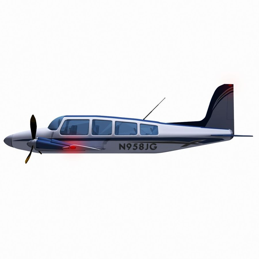 Twin Piston Small Airplane royalty-free 3d model - Preview no. 6