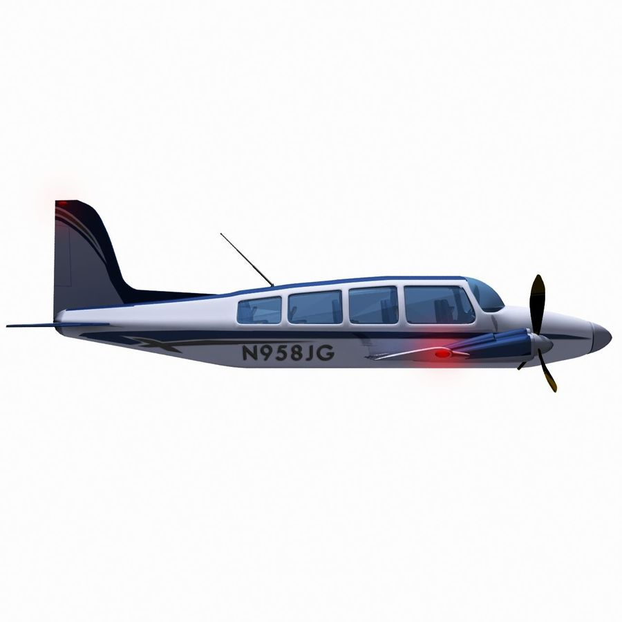 Twin Piston Small Airplane royalty-free 3d model - Preview no. 10