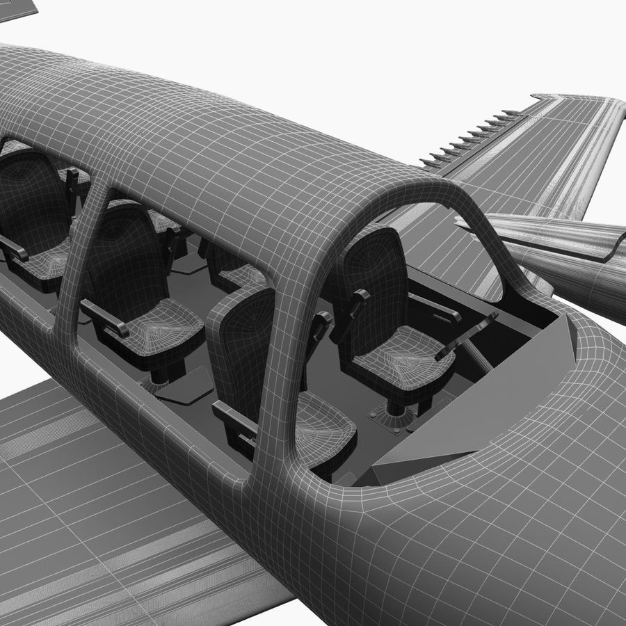 Twin Piston Small Airplane royalty-free 3d model - Preview no. 24