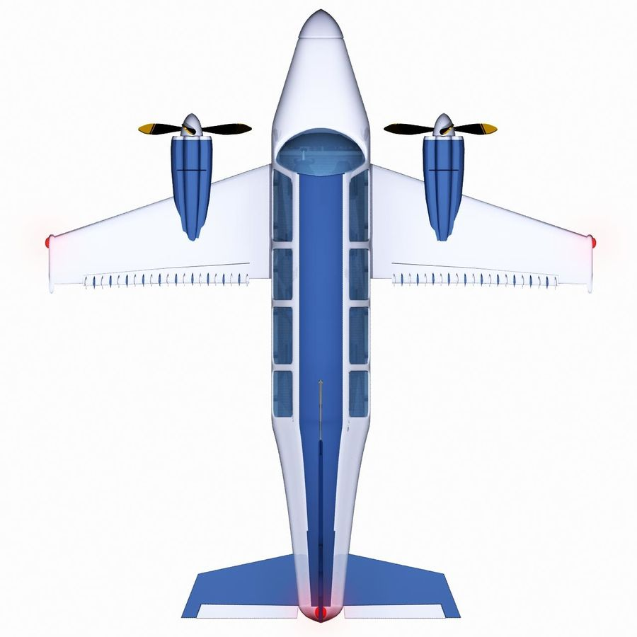 Twin Piston Small Airplane royalty-free 3d model - Preview no. 14