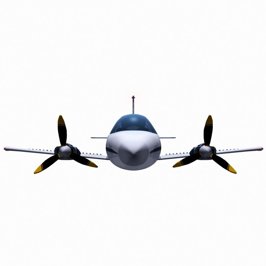 Twin Piston Small Airplane royalty-free 3d model - Preview no. 4