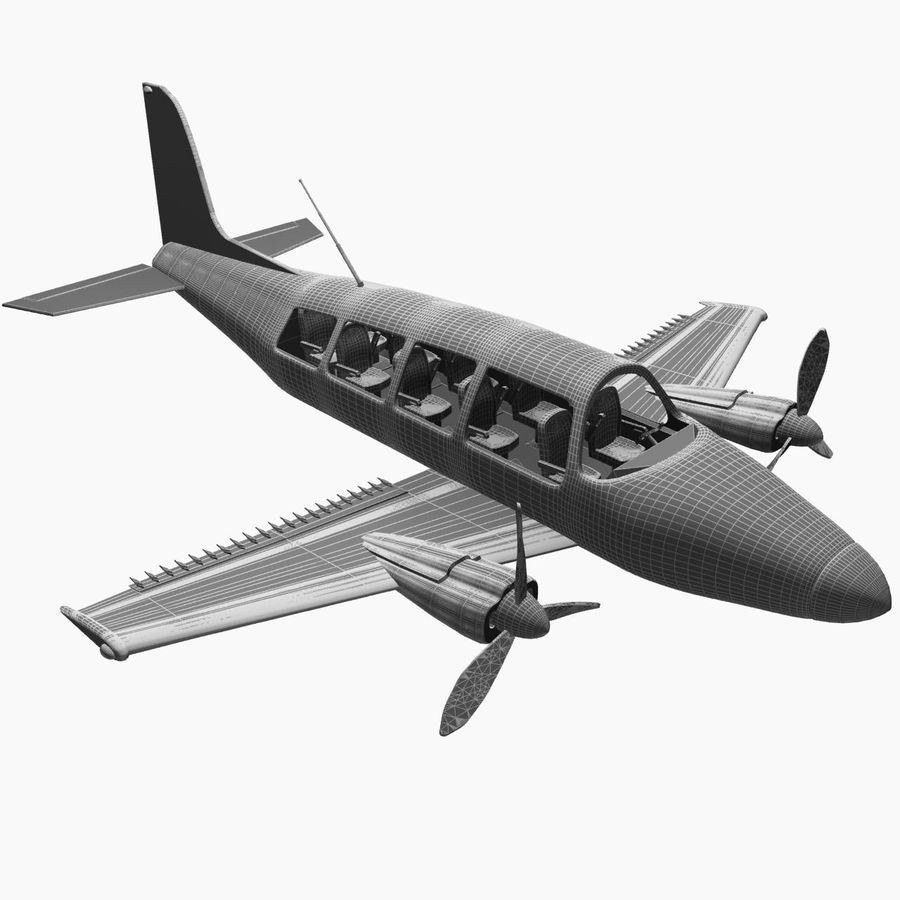 Twin Piston Small Airplane royalty-free 3d model - Preview no. 27
