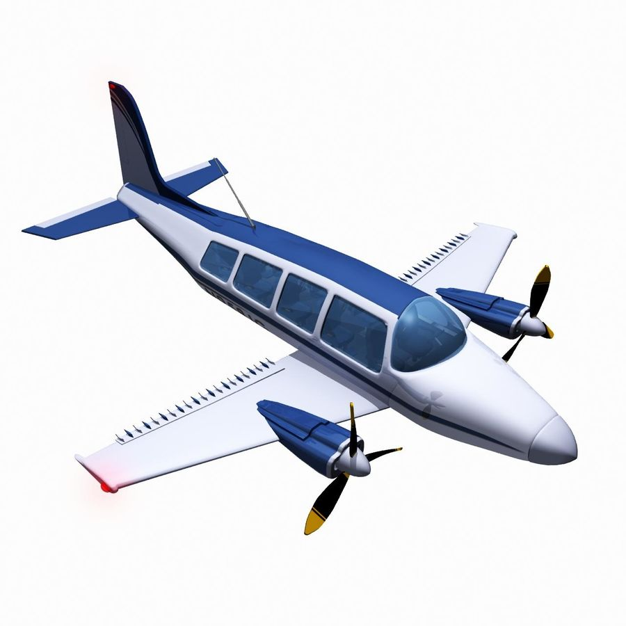 Twin Piston Small Airplane royalty-free 3d model - Preview no. 11