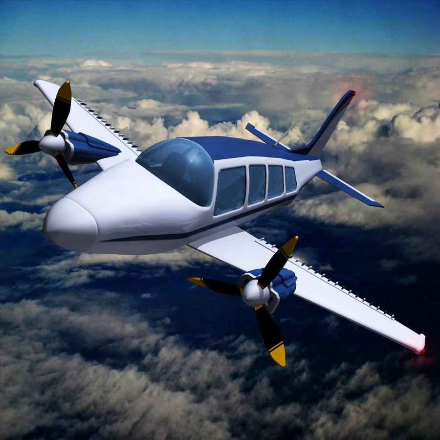 Twin Piston Small Airplane royalty-free 3d model - Preview no. 12