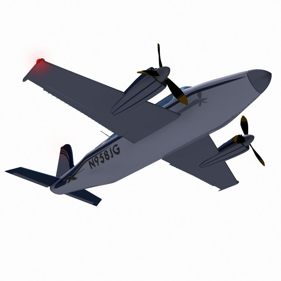 Twin Piston Small Airplane royalty-free 3d model - Preview no. 13