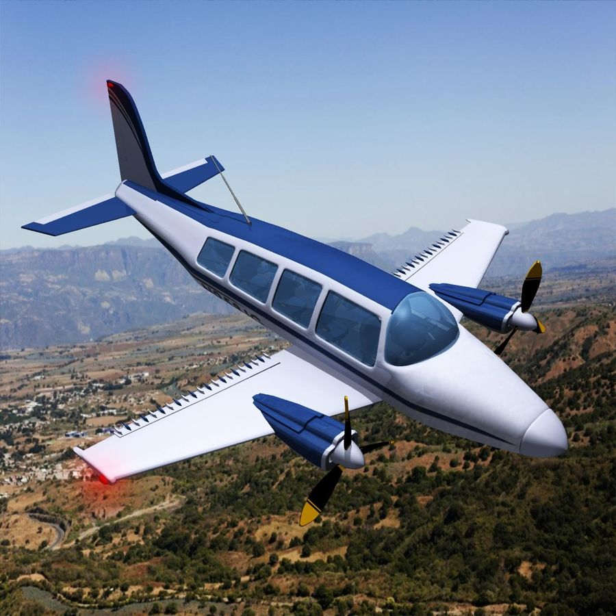 Twin Piston Small Airplane royalty-free 3d model - Preview no. 31