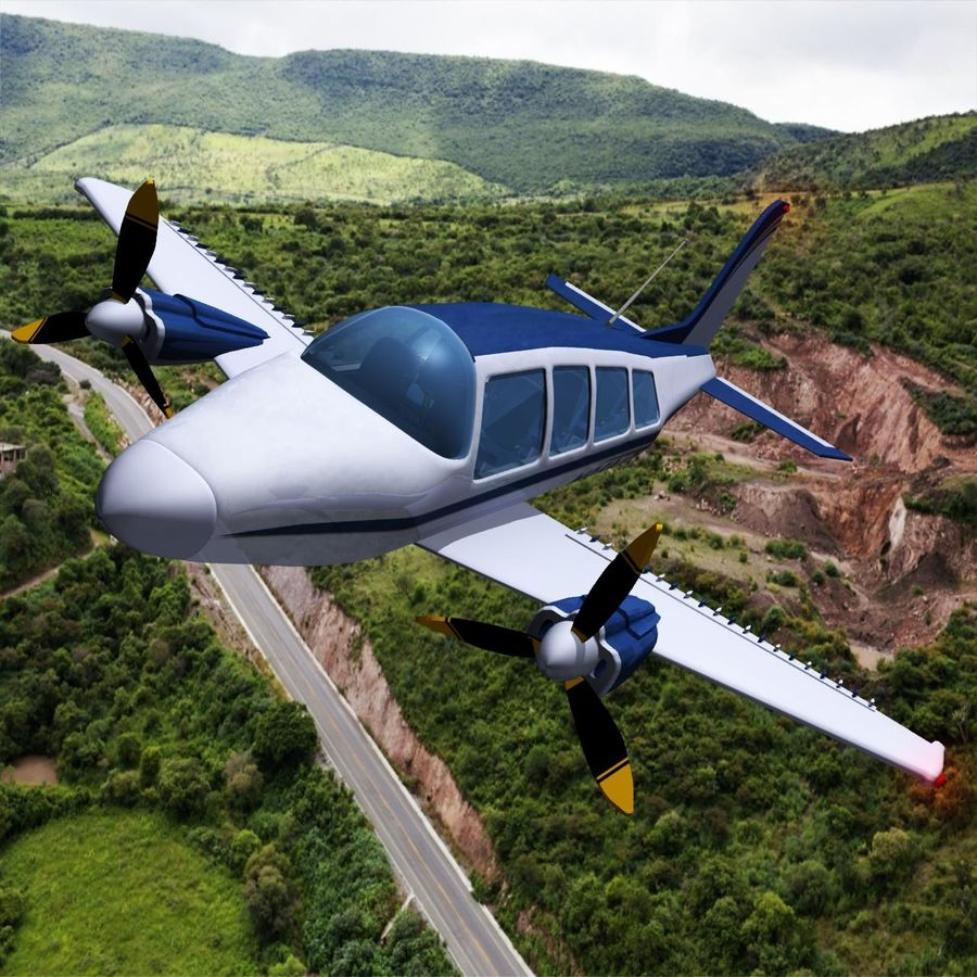 Twin Piston Small Airplane royalty-free 3d model - Preview no. 2