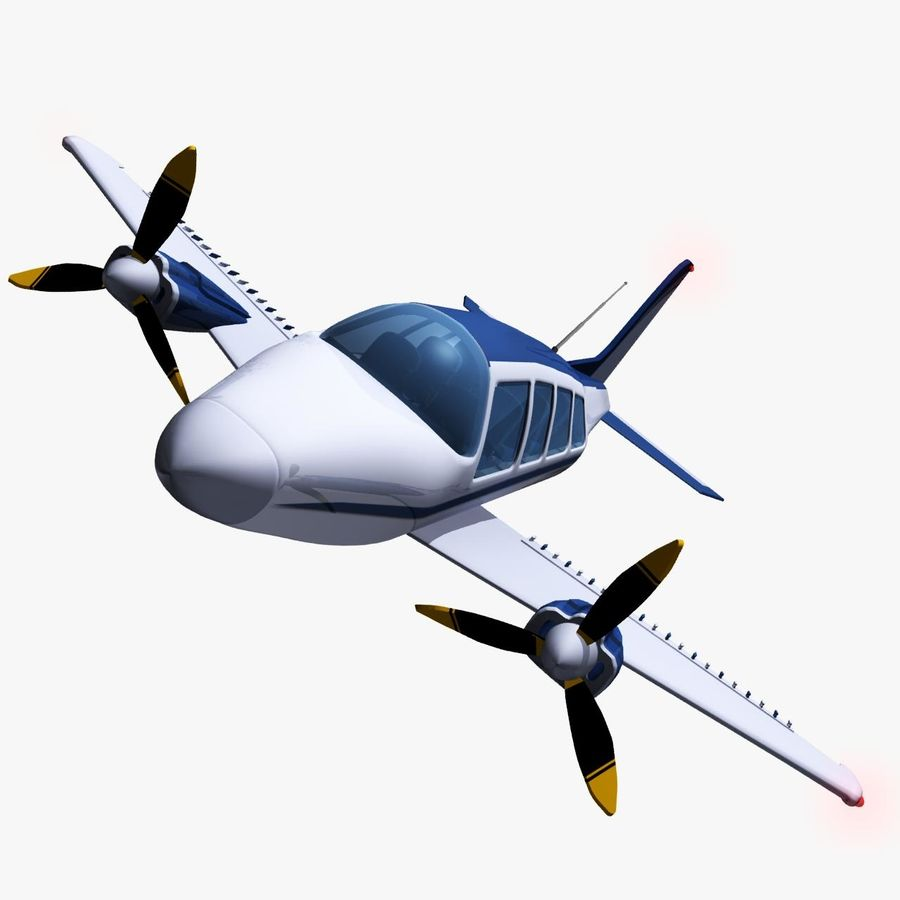 Twin Piston Small Airplane royalty-free 3d model - Preview no. 1