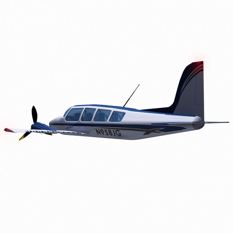 Twin Piston Small Airplane royalty-free 3d model - Preview no. 7