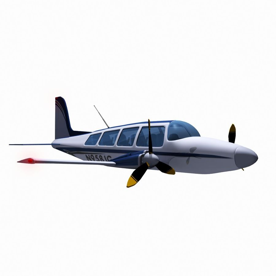 Twin Piston Small Airplane royalty-free 3d model - Preview no. 3