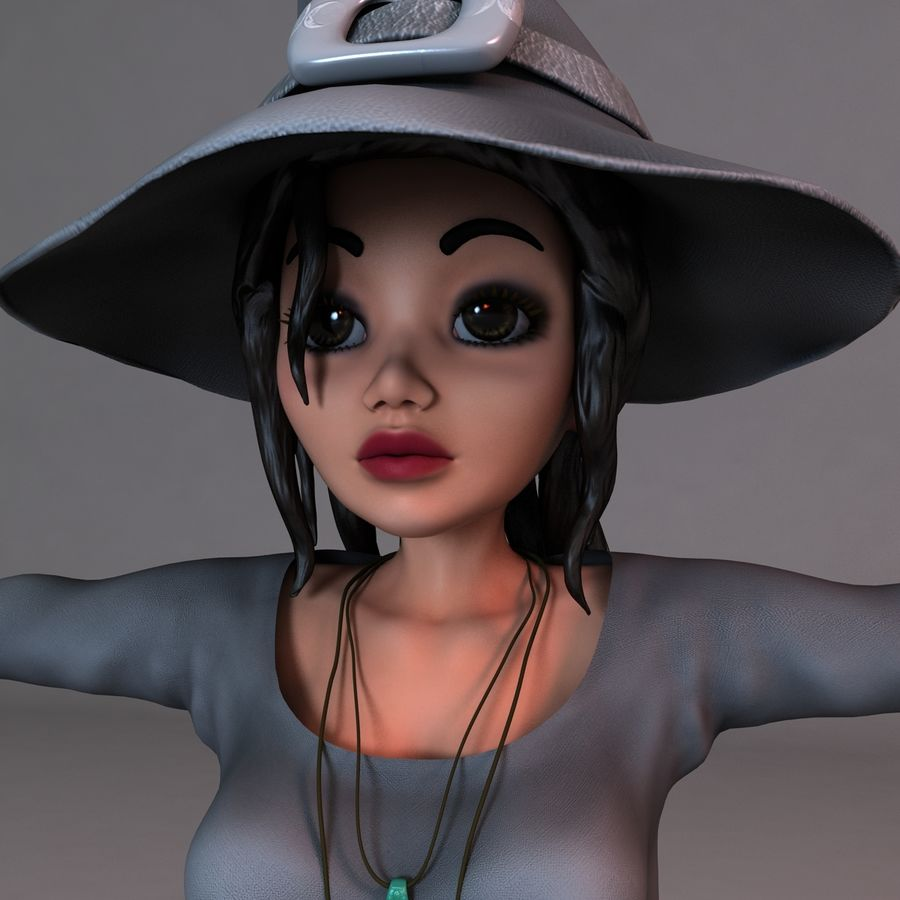 Cartoon Witch royalty-free 3d model - Preview no. 1