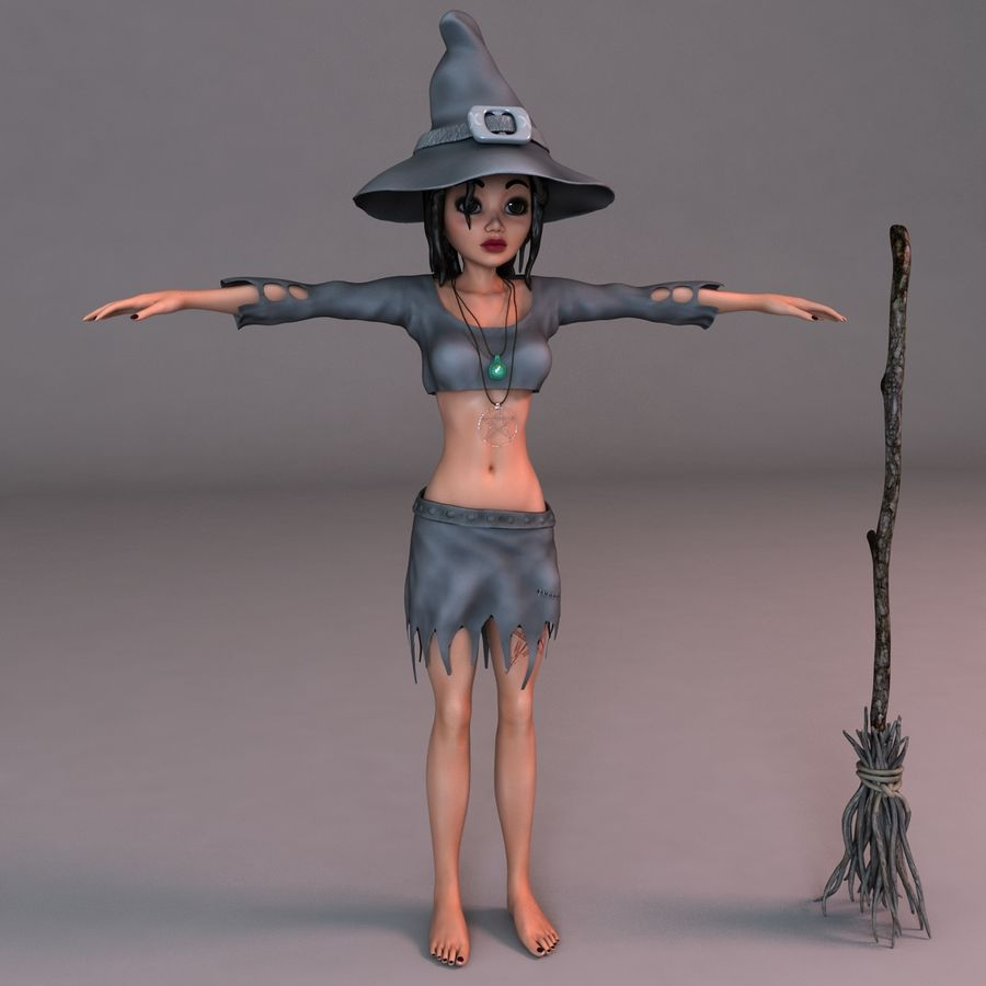 Cartoon Witch royalty-free 3d model - Preview no. 2