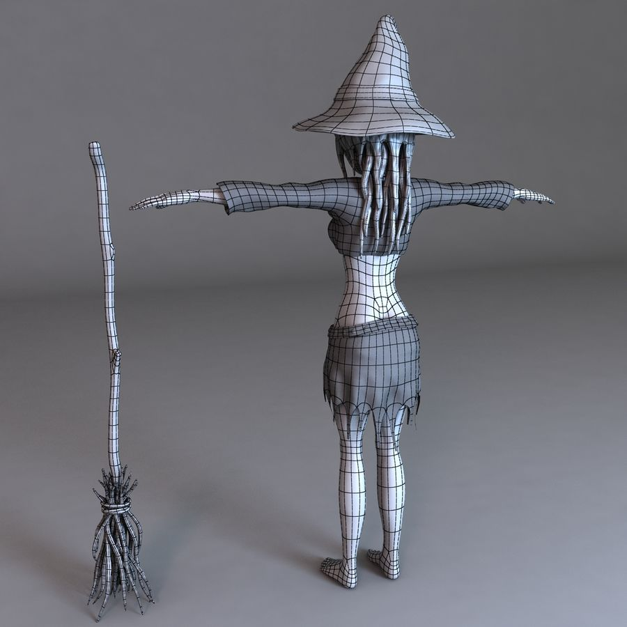 Cartoon Witch royalty-free 3d model - Preview no. 11