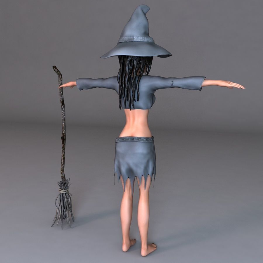 Cartoon Witch royalty-free 3d model - Preview no. 3
